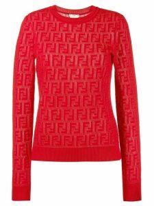 Fendi jacquard knit FF logo sweater - Red