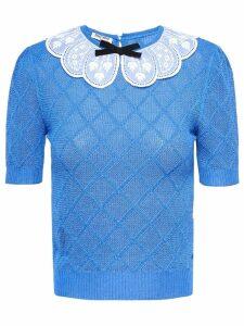 Miu Miu lace collar knit top - Blue