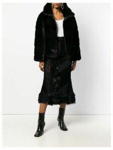 Amen ruched panel velvet skirt - Black