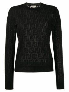 Fendi jacquard knit FF logo sweater - Black