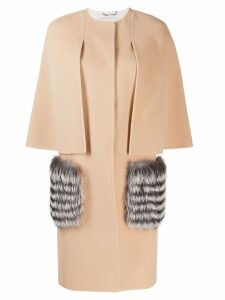 Fendi fur-trimmed cape coat - NEUTRALS