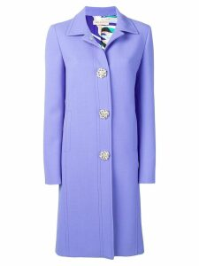 Emilio Pucci Jewelled Button Coat - Purple