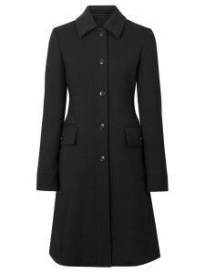 Burberry Wool Silk Tailored Coat - Black