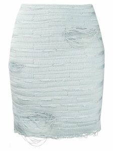Balmain distressed-effect knit skirt - Blue