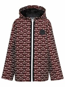 Miu Miu monogram pattern hooded jacket - Red