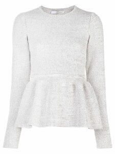Tibi Tweedy peplum sweater - Neutrals