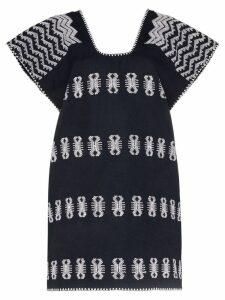 Pippa Holt embroidered kaftan mini dress - Blue