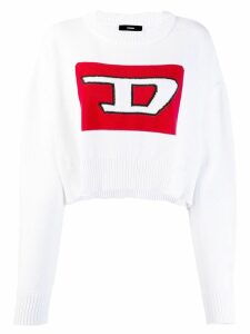 Diesel Cropped pullover with 3D intarsia - White