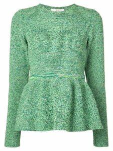 Tibi bouclé peplum knitted top - Green
