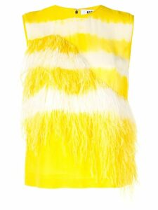MSGM feather embellished top - Yellow