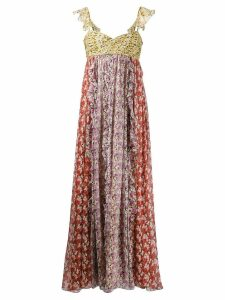 Valentino mixed print floral maxi dress - Orange