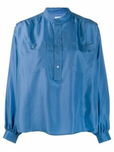 Hope band collar shirt - Blue
