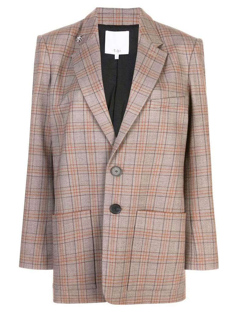Tibi James check men's blazer - Brown