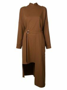 Tibi Chalky asymmetric mid-length dress - Brown