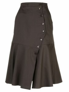 Tibi Dominic button flared skirt - Brown