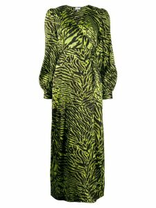Ganni tiger print wrap dress - Black