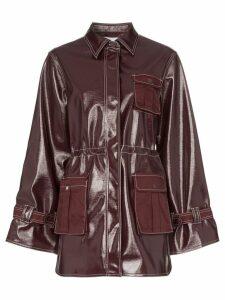 Ganni oversized contrast stitch jacket - Red