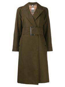 Burberry side-slit gabardine belted trench coat - Green