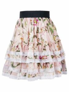 Dolce & Gabbana lace trimmed floral pleated skirt - Pink