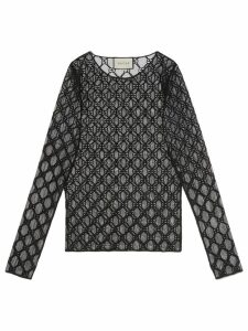 Gucci GG embroidered tulle T-shirt - Black