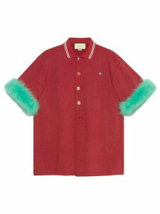 Gucci Oversize cotton polo shirt with feathers - Red