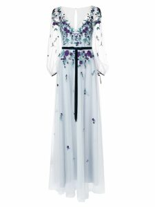 Marchesa Notte embroidered sheer sleeve dress - Blue