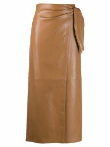 Nanushka wrapped midi skirt - Brown