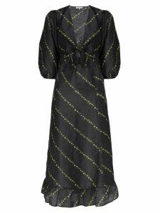 Ganni floral stripe midi dress - Black