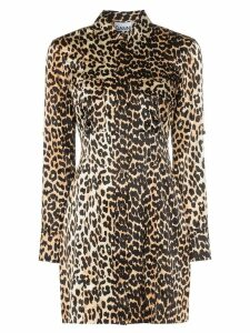 Ganni leopard print shirt dress - Black
