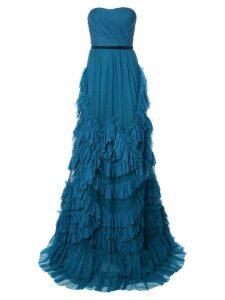 Marchesa Notte ruffled strapless dress - Blue