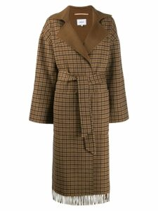 Nanushka check print fringe coat - Brown