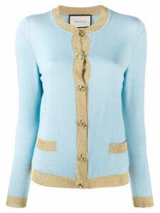 Gucci lurex trim knitted top - Blue