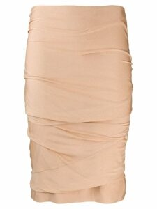 Tom Ford gathered pencil skirt - Neutrals