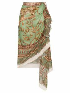 Johanna Ortiz Magnitude leopard print wrap skirt - Green