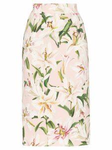 Dolce & Gabbana lily print pencil skirt - Pink