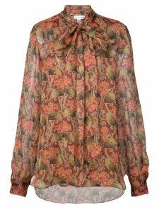 Oscar de la Renta floral long-sleeve blouse - Red