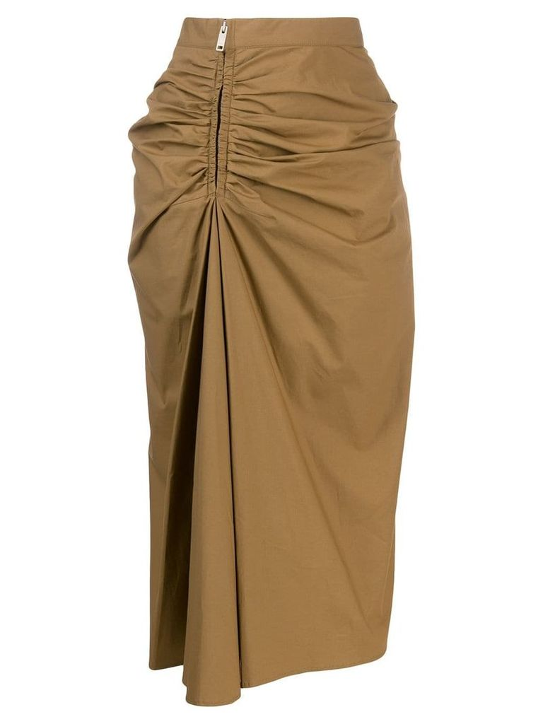 Givenchy ruched midi skirt - Brown