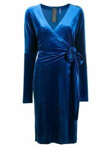 Norma Kamali velvet wrap dress - Blue