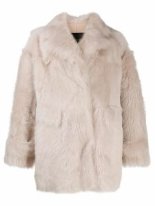 Blancha oversized shearling coat - NEUTRALS