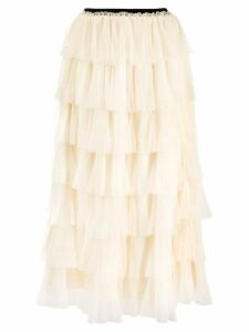 Red Valentino RED(V) tiered midi skirt - Neutrals