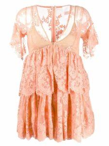 Aniye By v-neck lace mini dress - Orange