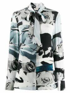 Alexander McQueen rose print pussybow shirt - Blue