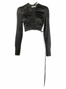 Ottolinger satin lace-up shirt - Black