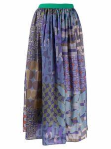 Kolor patchwork flared midi skirt - Blue