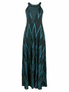 M Missoni zig-zag lurex knit dress - Blue