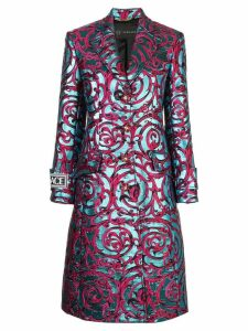 Versace botanical embroidered coat - Blue
