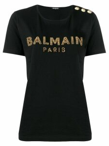 Balmain bead embroidered logo T-shirt - Black