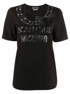 Boutique Moschino printed bow logo T-shirt - Black