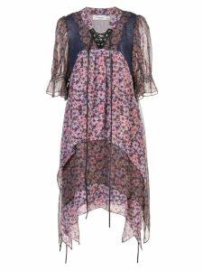 Coach floral short-sleeve flared dress - Purple