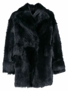 Blancha oversized shearling coat - Blue